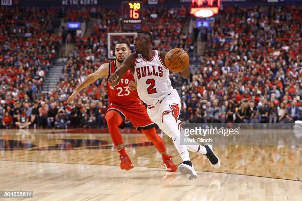 Jerian Grant of the Chicago Bulls handles the ball during the game against the Toronto Raptors on October 19 2017 at the Air Canada Centre in Toronto...