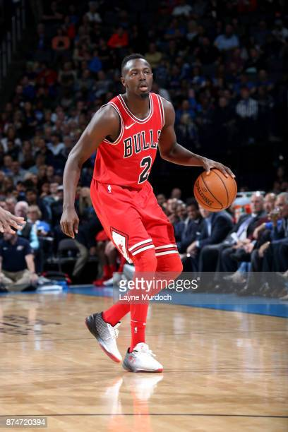 Jerian Grant of the Chicago Bulls handles the ball during the game Oklahoma City Thunder on November 15 2017 at Chesapeake Energy Arena in Oklahoma...