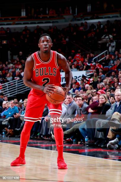 Jerian Grant of the Chicago Bulls handles the ball during the game against the Toronto Raptors on January 3 2018 at the United Center in Chicago...