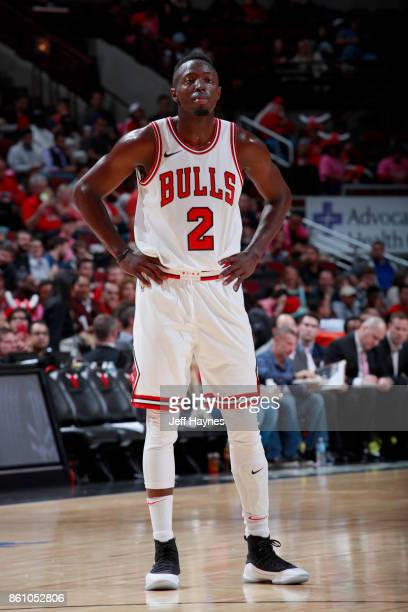 Jerian Grant of the Chicago Bulls looks on during the game against the Toronto Raptors on October 13 2017 at the United Center in Chicago Illinois...