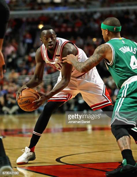 Jerian Grant of the Chicago Bulls moves against Isaiah Thomas of the Boston Celtics during Game Four of the Eastern Conference Quarterfinals during...