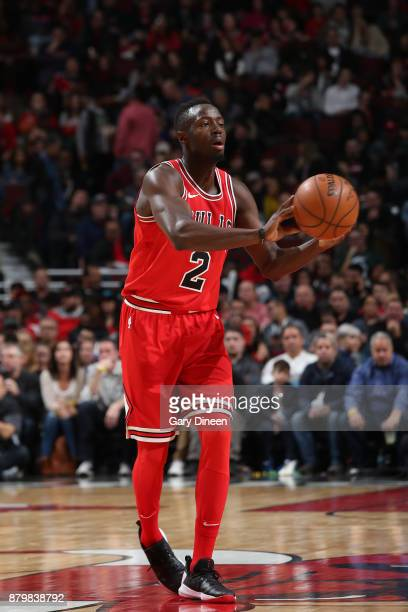 Jerian Grant of the Chicago Bulls passes the ball against the Miami Heat on November 26 2017 at the United Center in Chicago Illinois NOTE TO USER...