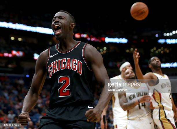 Jerian Grant of the Chicago Bulls reacts after scoring against the New Orleans Pelicans during the first half of a NBA game at Smoothie King Center...