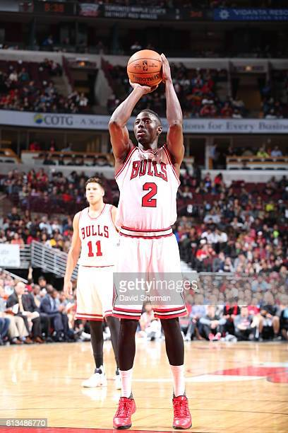 Jerian Grant of the Chicago Bulls shoots a free throw against the Indiana Pacers on October 8 2016 at the United Center in Chicago Illinois NOTE TO...