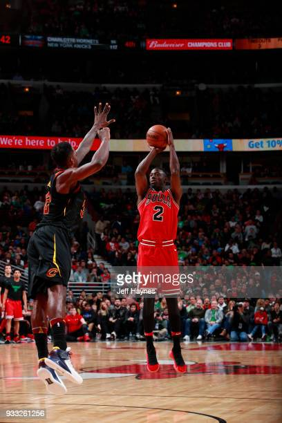 Jerian Grant of the Chicago Bulls shoots the ball against the Cleveland Cavaliers on March 17 2018 at the United Center in Chicago Illinois NOTE TO...