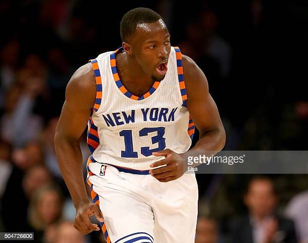 Jerian Grant of the New York Knicks celebrates his three point shot in the second half against the Boston Celtics at Madison Square Garden on January...