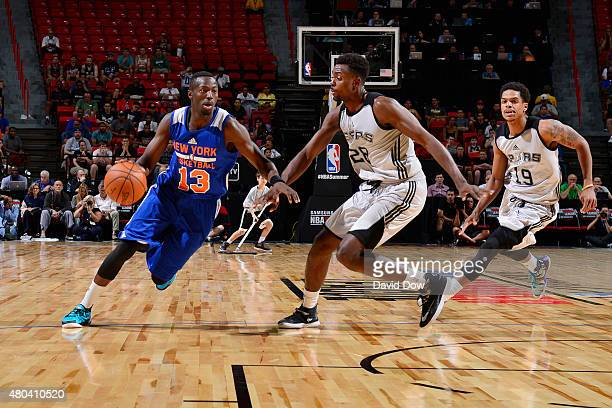 Jerian Grant of the New York Knicks drives to the basket against the San Antonio Spurs during the game on July 11 2015 at Thomas Mack Center Las...