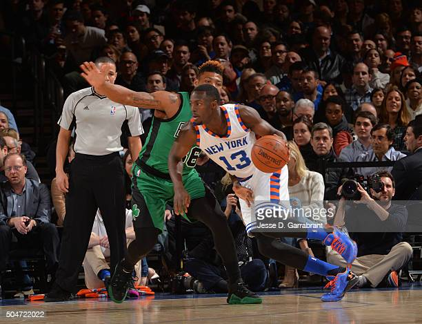 Jerian Grant of the New York Knicks drives to the basket against the Boston Celtics at Madison Square Garden on January 12 2016 in New YorkNew York...