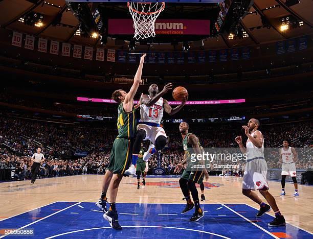 Jerian Grant of the New York Knicks goes up for the layup against the Utah Jazz at Madison Square Garden on January 20 2016 in New YorkNew York NOTE...