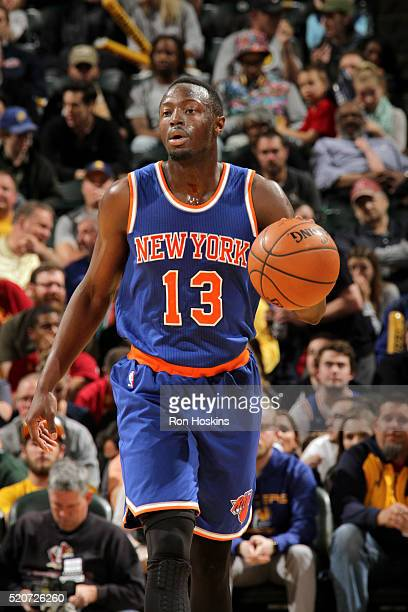 Jerian Grant of the New York Knicks handles the ball during the game against the Indiana Pacers on April 12 2016 at Bankers Life Fieldhouse in...