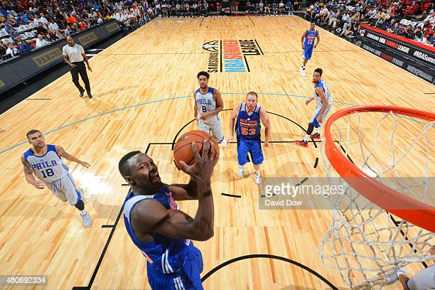 Jerian Grant of the New York Knicks shoots the ball against the Philadelphia 76ers during the 2015 NBA Las Vegas Summer League game on July 14 2015...
