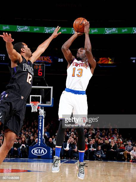 Jerian Grant of the New York Knicks shoots the ball against the Phoenix Suns on January 29 2016 at Madison Square Garden in New York City New York...