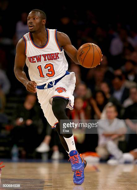 Jerian Grant of the New York Knicks takes the ball in the second half against the Philadelphia 76ers at Madison Square Garden on December 2 2015 in...