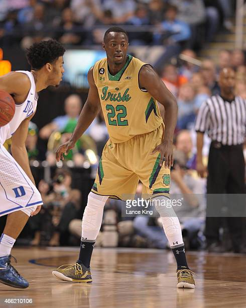 Jerian Grant of the Notre Dame Fighting Irish works on defense against the Duke Blue Devils during the semifinals of the 2015 Men's ACC Tournament at...
