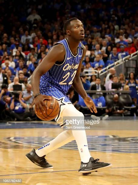 Jerian Grant of the Orlando Magic looks to make a pass during the game against the Miami Heat at Amway Center on October 17 2018 in Orlando Florida...