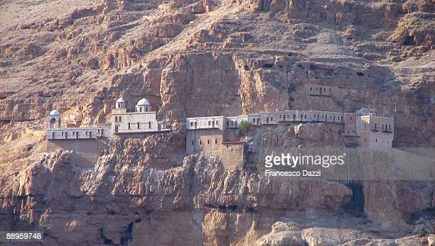 jericho - monastery of temptation - jericho stock photos and pictures