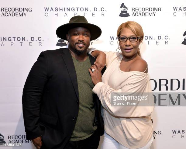 Jeriel Johnson, Executive Director of the Grammys DC Chapter, and Traci Braxton at the Grammys Washington, DC Chapter New Member Mix at The Recording...