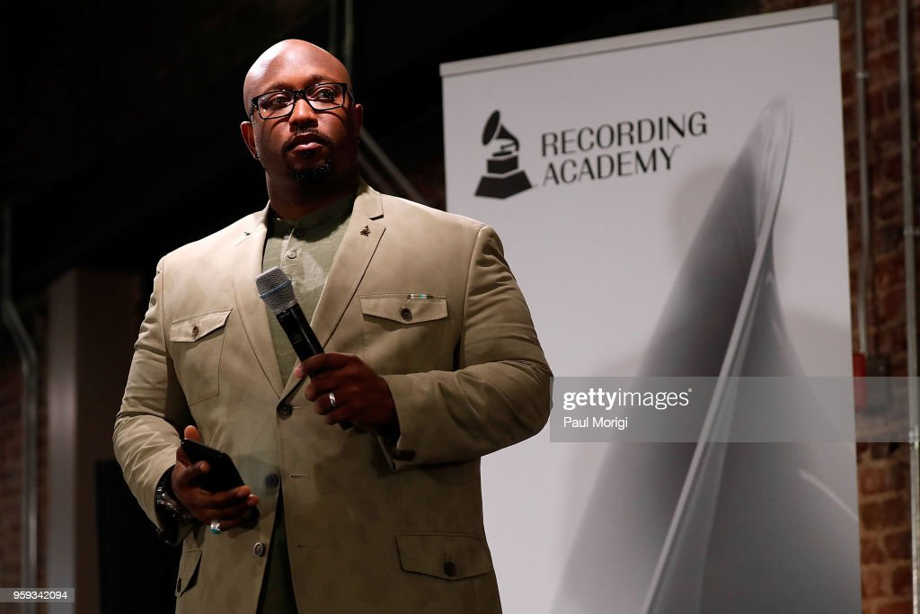 Jeriel Johnson, Executive Director, The Recording Academy DC Chapter, speaks at the Vocal Health Clinic hosted by The Recording Academy WDC Chapter and MusiCares at the National Union Building on May 16, 2018 in Washington, DC.