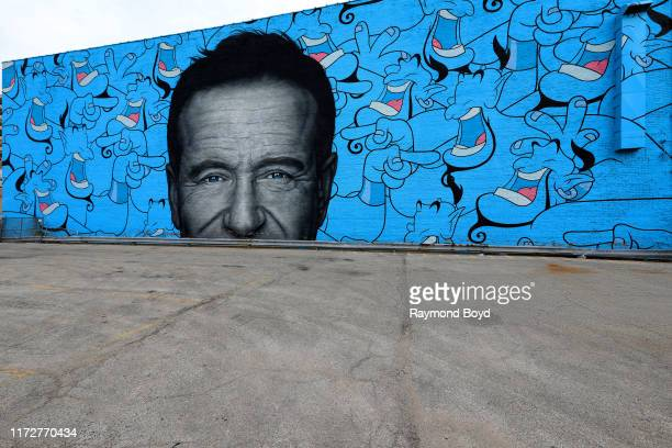 Jerkface and Owen Dippie's 'Robin Williams' mural is displayed on the side of Concord Music Hall in the Logan Square neighborhood in Chicago Illinois...