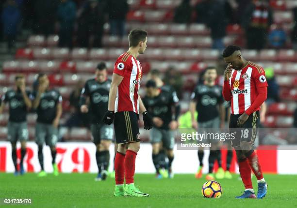 Jermain Defoe and Adnan Januzaj of Sunderland show dejection during the Premier League match between Sunderland and Southampton at Stadium of Light...