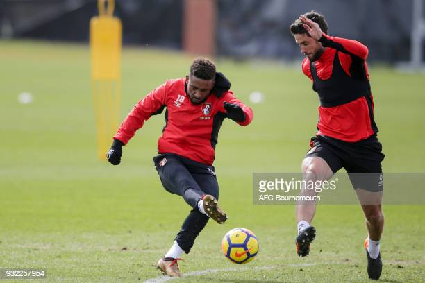 Jermain Defoe and Andrew Surman of Bournemouth during an AFC Bournemouth training session at Vitality Stadium on March 14 2018 in Bournemouth England