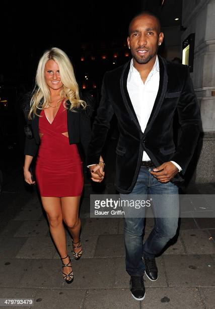 Jermain Defoe and Danielle Armstrong are seen on December 01 2012 in London United Kingdom