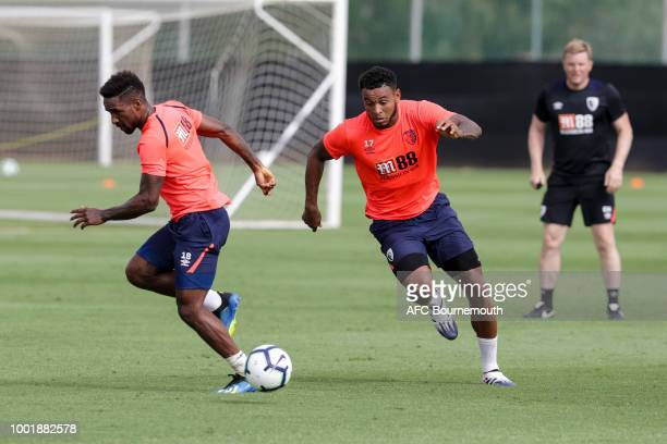 Jermain Defoe and Joshua King of Bournemouth during preseason training on July 19 2018 in La Manga Spain