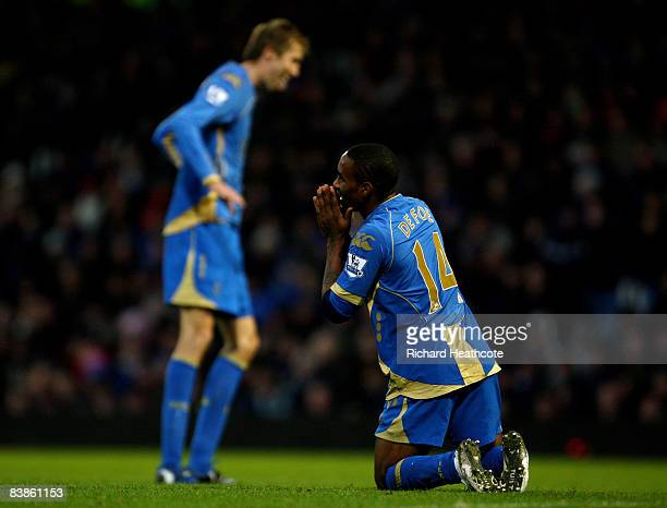 Jermain Defoe and Peter Crouch of Pompey rue a missed chance to score during the Barclays Premier League match between Portsmouth and Blackburn...