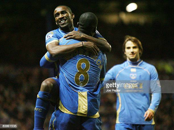 Jermain Defoe celebrates scoring Portsmouth's second goal against Rovers during the Barclays Premier League match between Portsmouth and Blackburn...