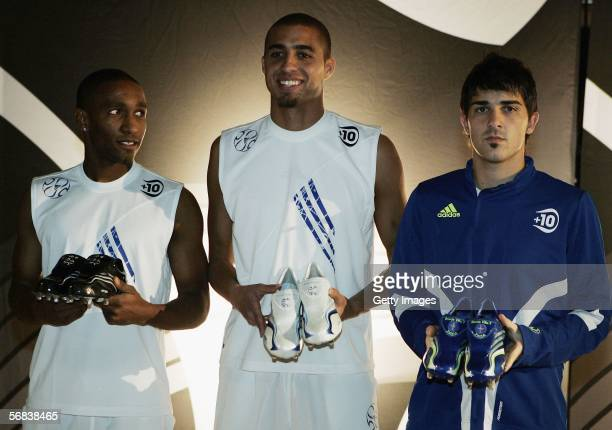Jermain Defoe David Trezeguet and David Villa present their new shoes during the Major adidias F50 Tunit Launch Event on February 13 2006 in Munich...