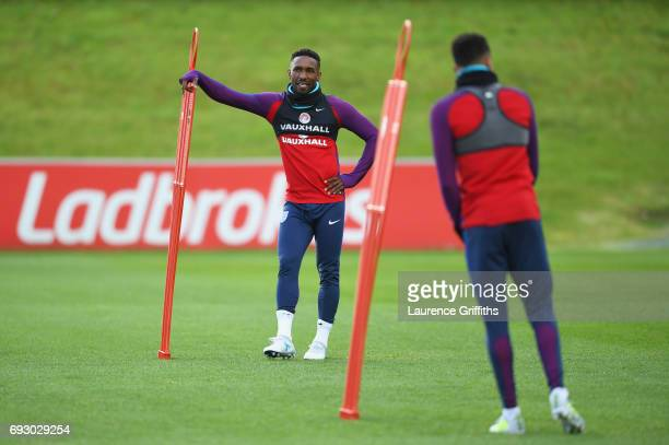 Jermain Defoe looks on during a training session as part of England media access at St George's Park on June 6 2017 in BurtonuponTrent England