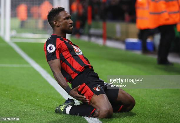 Jermain Defoe of AFC Bournemouth celebrates as he scores their second goal during the Premier League match between AFC Bournemouth and Brighton and...