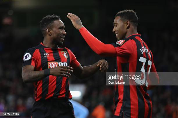 Jermain Defoe of AFC Bournemouth celebrates as he scores their second goal with Jordon Ibe of AFC Bournemouth during the Premier League match between...