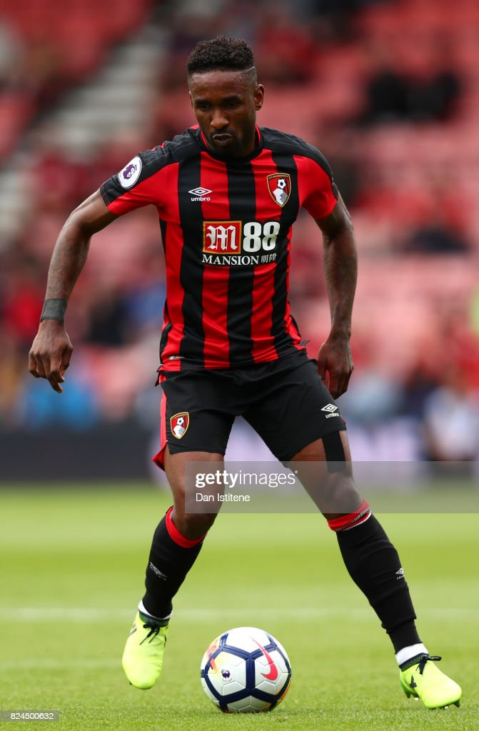 Jermain Defoe of AFC Bournemouth in action during the pre-season friendly match between AFC Bournemouth and Valencia CF at Vitality Stadium on July 30, 2017 in Bournemouth, England.