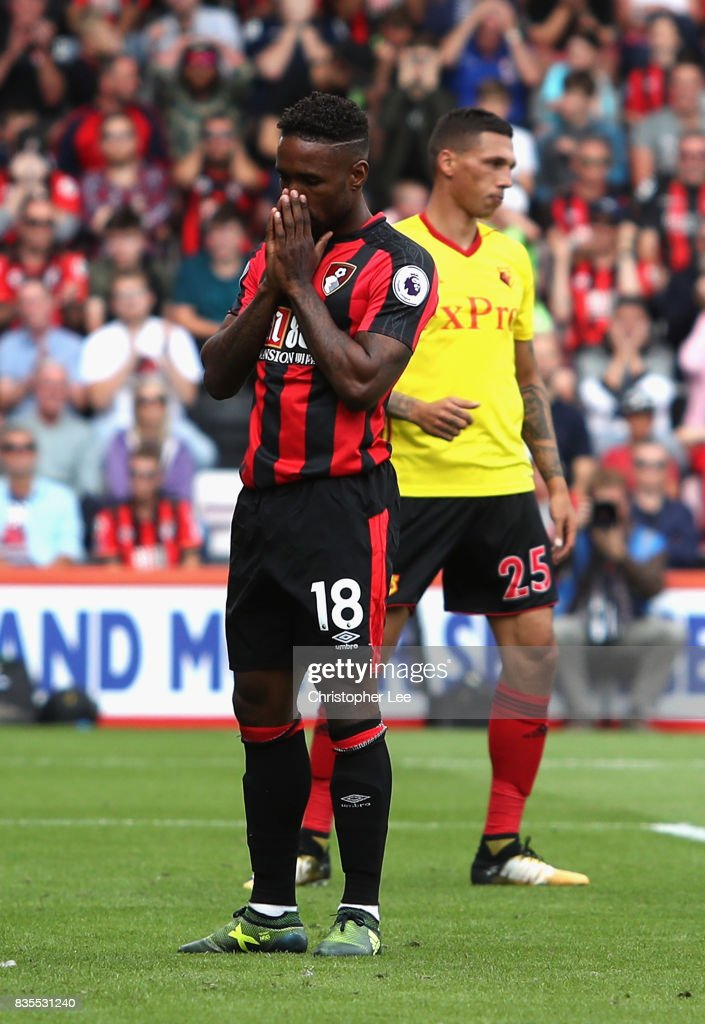 Jermain Defoe of AFC Bournemouth reacts during the Premier League match between AFC Bournemouth and Watford at Vitality Stadium on August 19, 2017 in Bournemouth, England.