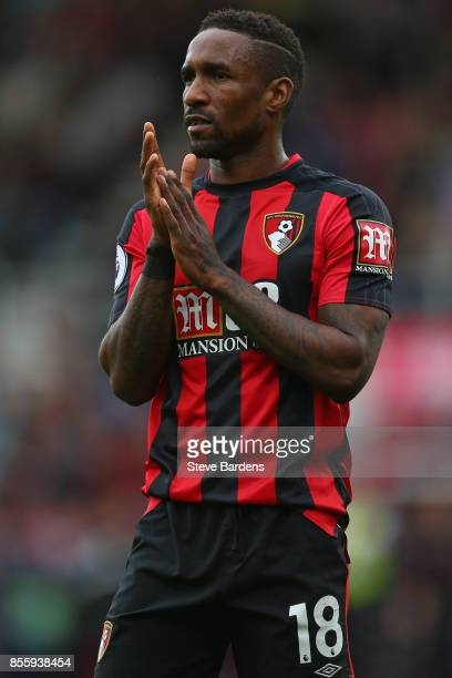 Jermain Defoe of AFC Bournemouth reacts during the Premier League match between AFC Bournemouth and Leicester City at Vitality Stadium on September...
