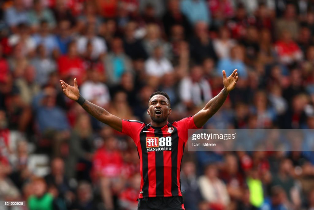 Jermain Defoe of AFC Bournemouth reacts during the pre-season friendly match between AFC Bournemouth and Valencia CF at Vitality Stadium on July 30, 2017 in Bournemouth, England.
