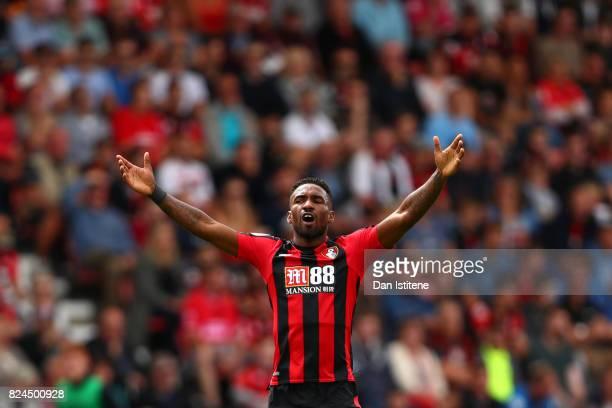 Jermain Defoe of AFC Bournemouth reacts during the preseason friendly match between AFC Bournemouth and Valencia CF at Vitality Stadium on July 30...