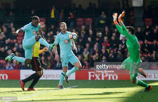 Jermain Defoe of AFC Bournemouth scores his sides second goal during the Premier League match between Watford and AFC Bournemouth at Vicarage Road on...