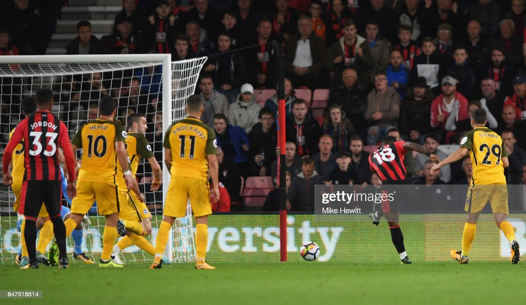 Jermain Defoe of AFC Bournemouth (18) scores their second goal during the Premier League match between AFC Bournemouth and Brighton and Hove Albion at Vitality Stadium on September 15, 2017 in Bournemouth, England.