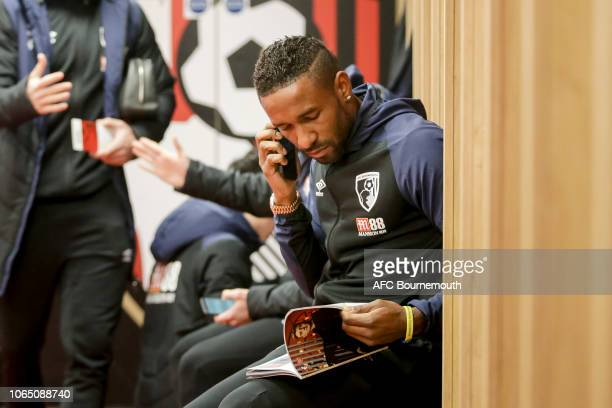 Jermain Defoe of Bournemouth in the home dressing room before the Premier League match between AFC Bournemouth and Arsenal FC at Vitality Stadium on...