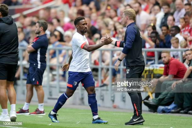 Jermain Defoe of Bournemouth is subbed by Bournemouth manager Eddie Howe during preseason friendly between Bristol City and AFC Bournemouth at Ashton...