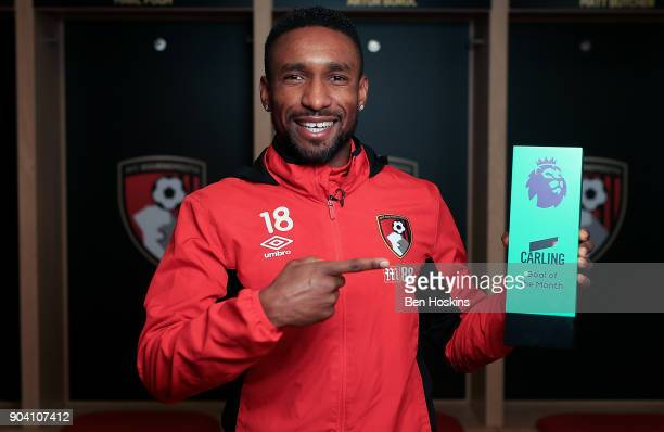 Jermain Defoe of Bournemouth poses with the trophy for Carling Premier League Goal of the Month for December 2017 on January 11 2018 in Bournemouth...