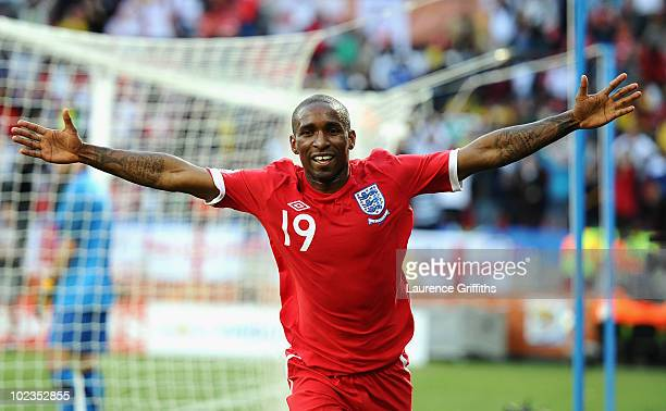 Jermain Defoe of England celebrates scoring the opening goal during the 2010 FIFA World Cup South Africa Group C match between Slovenia and England...