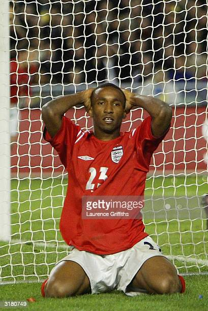 Jermain Defoe of England looks dejected after a missed chance during an International Friendly match between Sweden and England at Ullevi Stadium on...