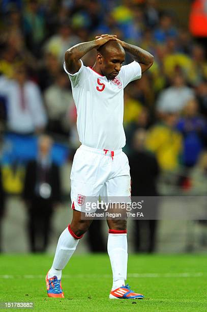 Jermain Defoe of England looks dejected during the FIFA 2014 World Cup qualifier group H match between England and Ukraine at Wembley Stadium on...
