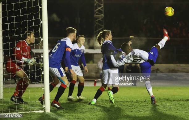 Jermain Defoe of Rangers attempts an over head kick during the rearranged Scottish Cup match between Cowdenbeath and Rangers at Central Park on...