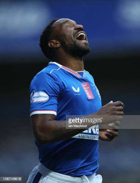 Jermain Defoe of Rangers celebrates after scoring his sides second goal during the Ladbrokes Scottish Premiership match between Rangers and...