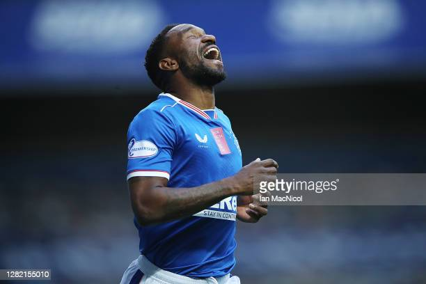 Jermain Defoe of Rangers celebrates after scoring his team's second goal at Ibrox Stadium on October 25, 2020 in Glasgow, Scotland. Sporting stadiums...