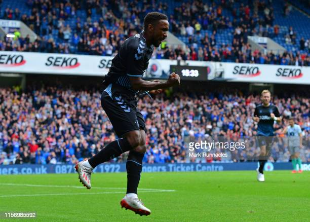 Jermain Defoe of Rangers celebrates as he scores the opening goal of the game during the Pre-Season Friendly between Rangers FC and Blackburn Rovers...